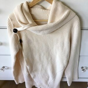 Sweaters - Tagless ivory cowl neck wrap sweater side buttons